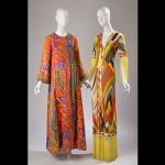 (left) Caftan (circa 1963), by Oscar de la Renta, (right) Dress (circa 1970), by Emilio Pucci. Courtesy, The Museum at FIT