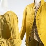 (left) Dress, yellow silk faille (circa 1770), (right) Men's coat, yellow silk (circa 1790). Courtesy, The Museum at FIT