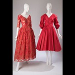 (left) Evening dress (circa 1950), by Christian Dior, (right) Dress (circa 1954), by Anne Fogarty. Courtesy, The Museum at FIT