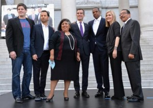 "From left to right: Budweiser Vice President Brian Perkins, Michael Rapino of Live Nation, Los Angeles City Supervisor Gloria Molina, Mayor of Los Angeles Eric Garcetti, Shawn ""Jay Z"" Carter, Elise Buik of United Way Of Greater Los Angeles and Los Angeles City Council President Herb Wesson. (PRNewsFoto/Live Nation)"