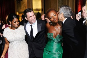 From left, Octavia Spencer, Tate Taylor, Ms. Davis and George Clooney at the Oscars. Frazer Harrison/Getty Images