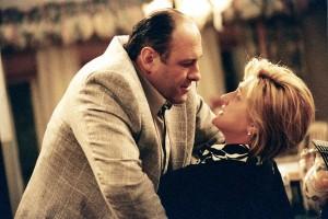 "James Gandolfini and Ms. Falco in ""The Sopranos."""