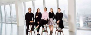 Image credit: (L-R) Osman Yousefzada, Osman; Amy Powney, Mother of Pearl; Emilia Wickstead; Sophia Webster; and Anna Laub, Prism (Shaun James Cox, British Fashion Council)
