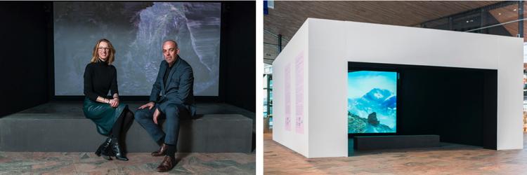 Links: Janneke Staarink, zakelijk directeur IFFR, en Fons Hof, director Art Rotterdam, rechts: videoroom op station Rotterdam Centraal. Foto: Joke Schut